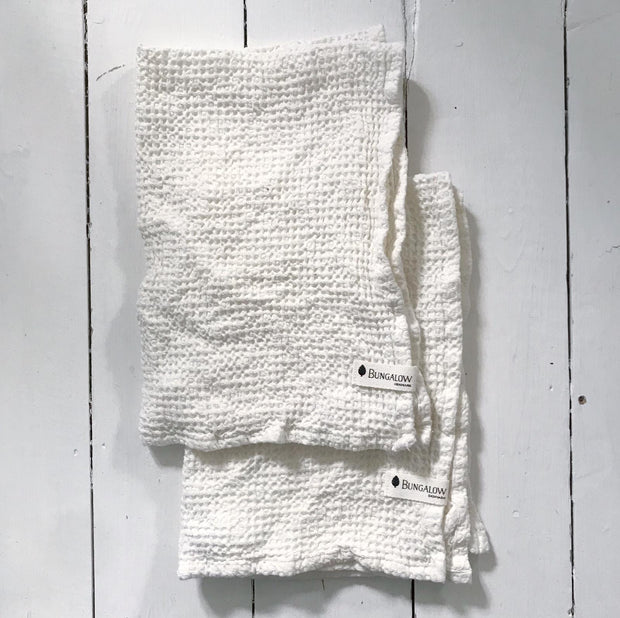 White Waffle Bath Towels - Domestic Science Home