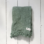 Green Waffle Bath Towels - Domestic Science Home