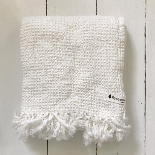White Waffle Bath Towels - Domestic Science LTD
