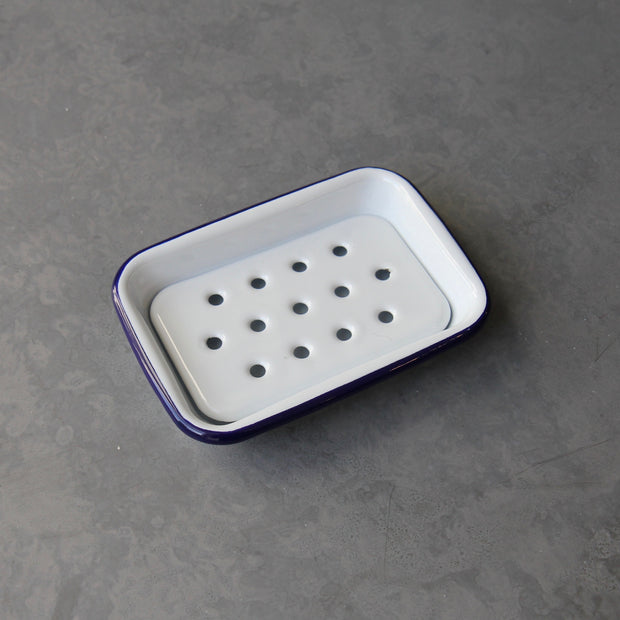 White & Blue Enamel Soap Dish - Domestic Science Home
