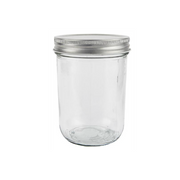 Glass Storage Jar with Silver Lid
