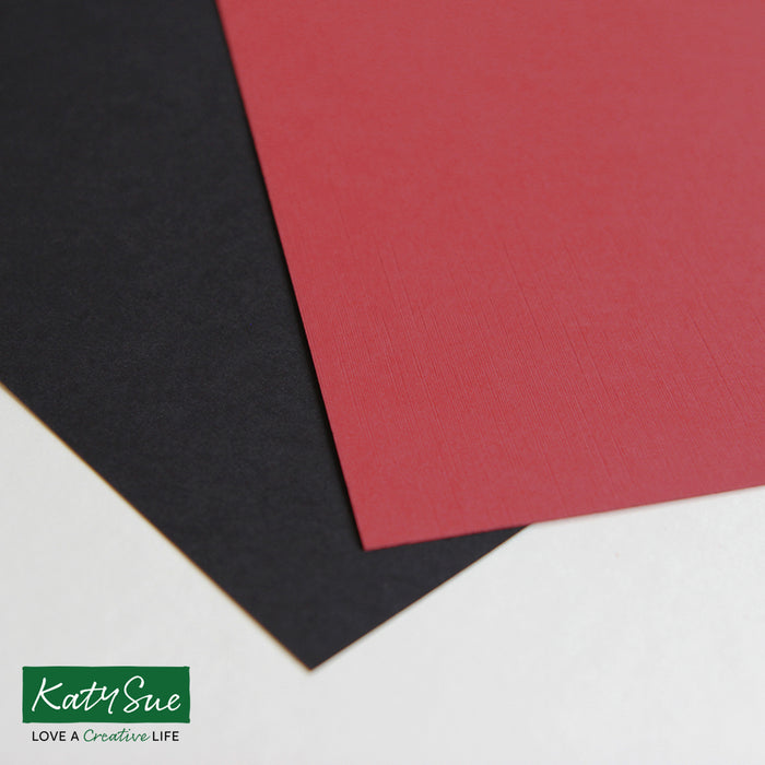 Black and Red Linen A4 Cardstock - Pack of 40