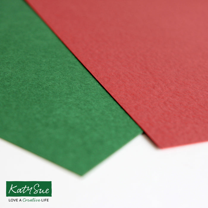 Hammer Embossed Christmas Green and Red A4 Cardstock - Pack of 40