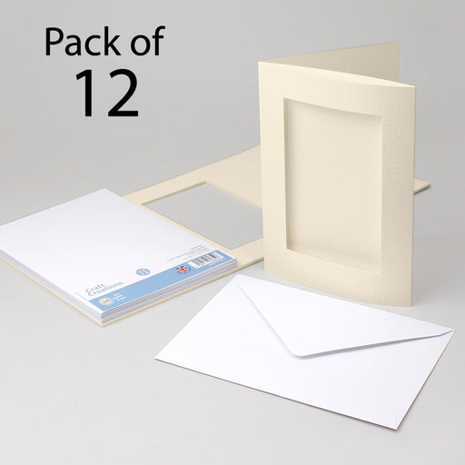 Cream Hammer Rectangle Aperture Cards & Envelopes 150x203mm (Pack of 12)
