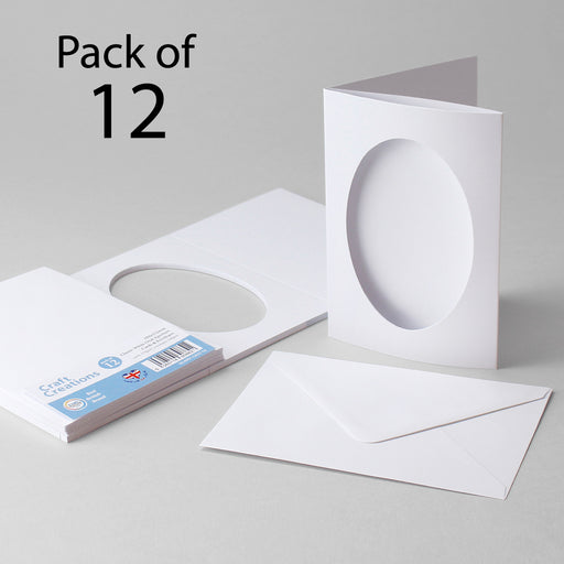 Classic White Oval Aperture Cards & Envelopes 104X152mm (Pack of 12)