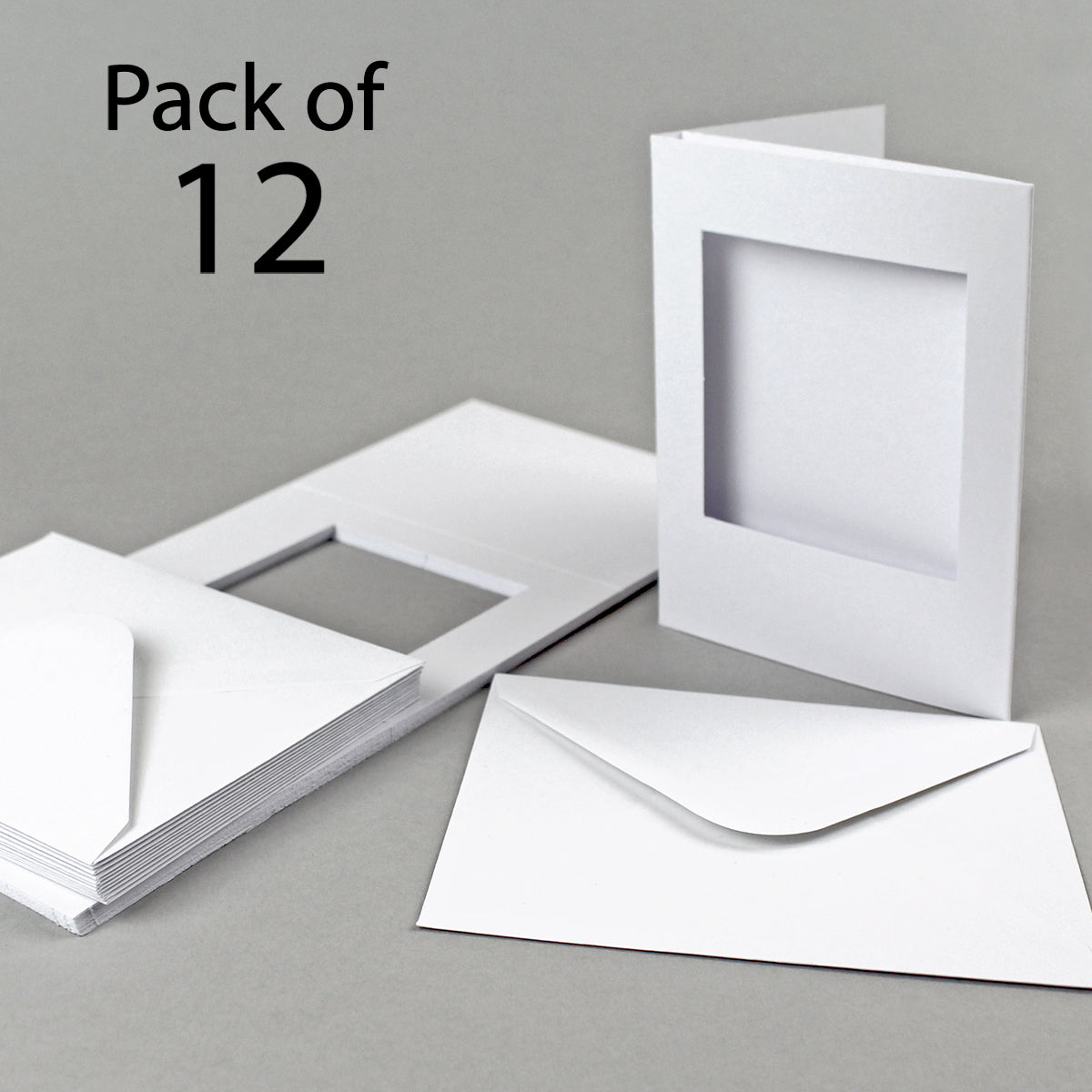 White Rectangular Aperture A6 Cards Pack Of 5