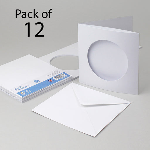 Classic White Circle Aperture Cards & Envelopes 144x144mm (Pack of 12)