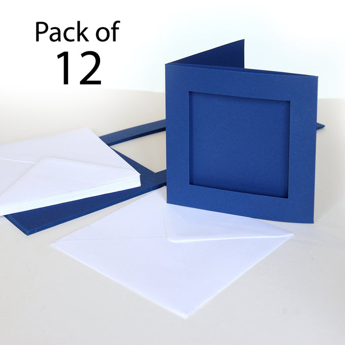 Midnight Blue 144 x 144mm Rectangle Aperture Cards & Envelopes (Pack of 12)