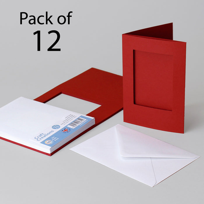 Deep Red Rectangle Aperture Cards & Envelopes 104x152mm (Pack of 12)
