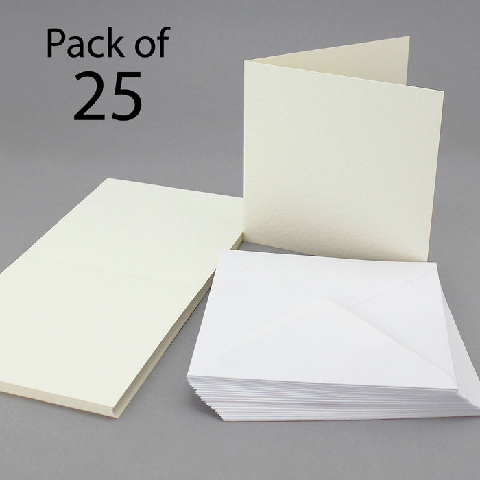 Cream Hammer 144mm x 144mm Single Fold Cards & Envelopes (Pack of 25)