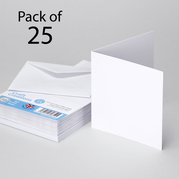 Classic White 100x100mm Single Fold Cards & Envelopes