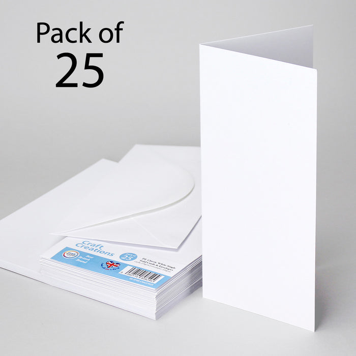 Classic White DL 100mmx210mm Single Fold Cards & Envelopes