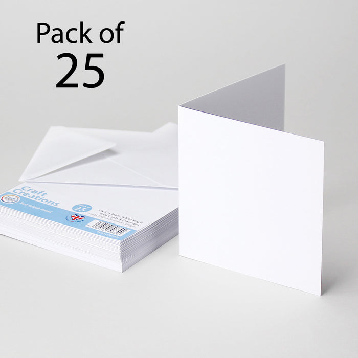 Classic White 179x179mm 7x7 Single Fold Cards & Envelopes (Pack of 25)