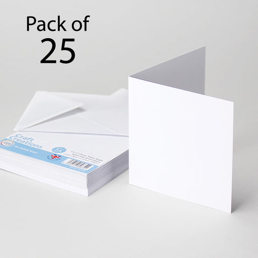 Classic White 125x125mm 5x5 Single Fold Cards & Envelopes