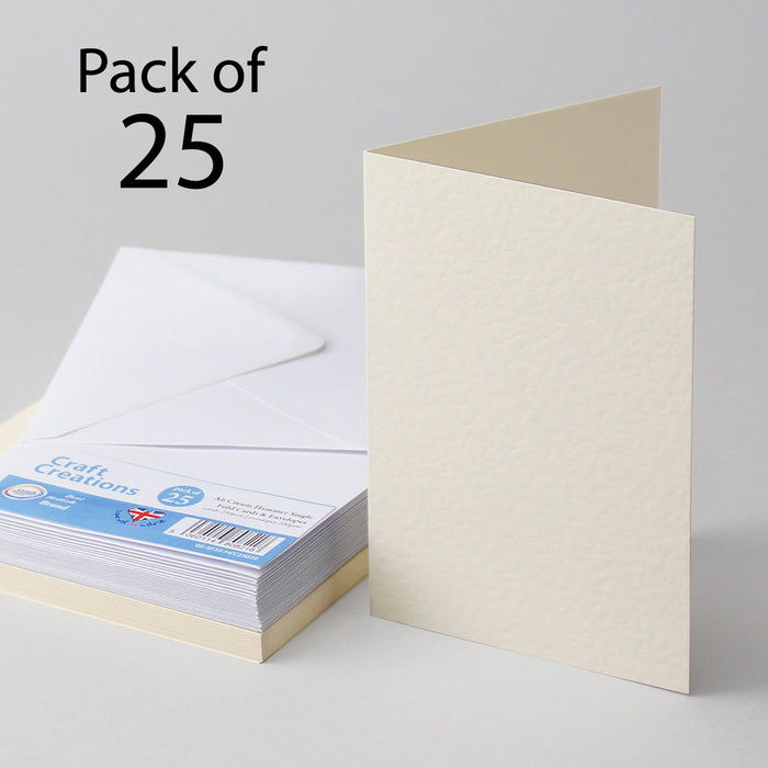 Cream Hammer A6 105x148mm Single Fold Cards & Envelopes