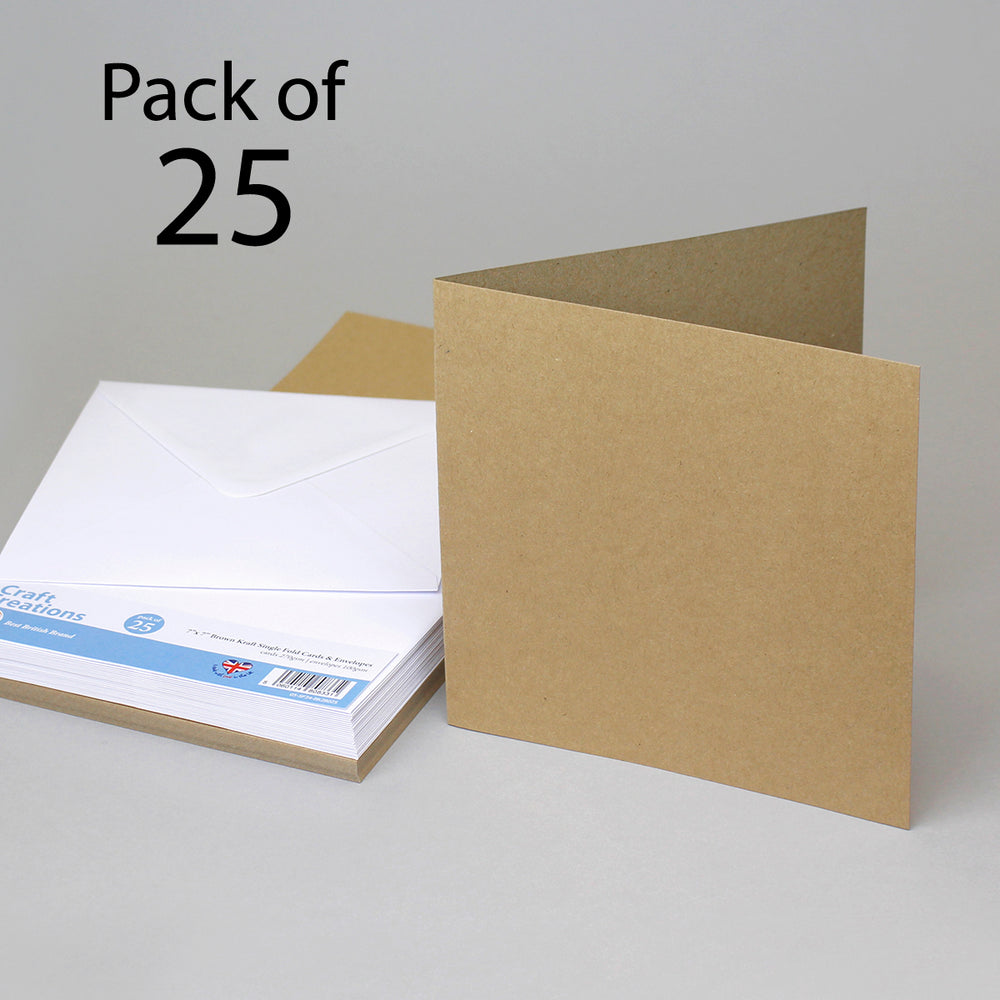 Brown Kraft 179x179mm 7x7 Single Fold Cards & Envelopes (Pack of 25)