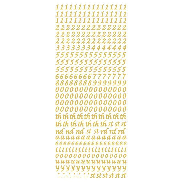 6mm Numbers & Vowels  Gold