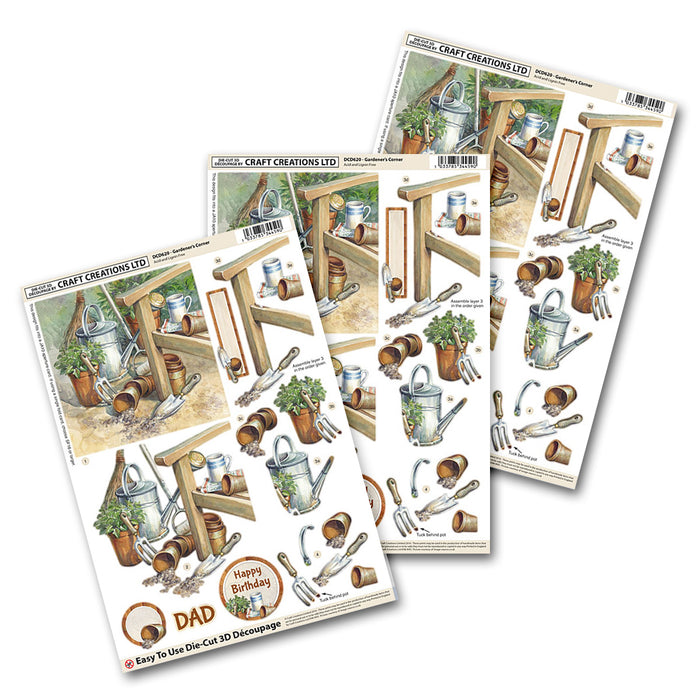 Die Cut Decoupage Gardeners Cottage (3 Pack)