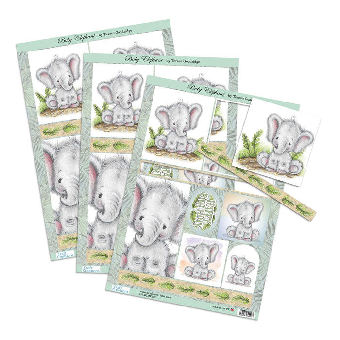 Die Cut Toppers - Baby Elephant (Pack of 3)