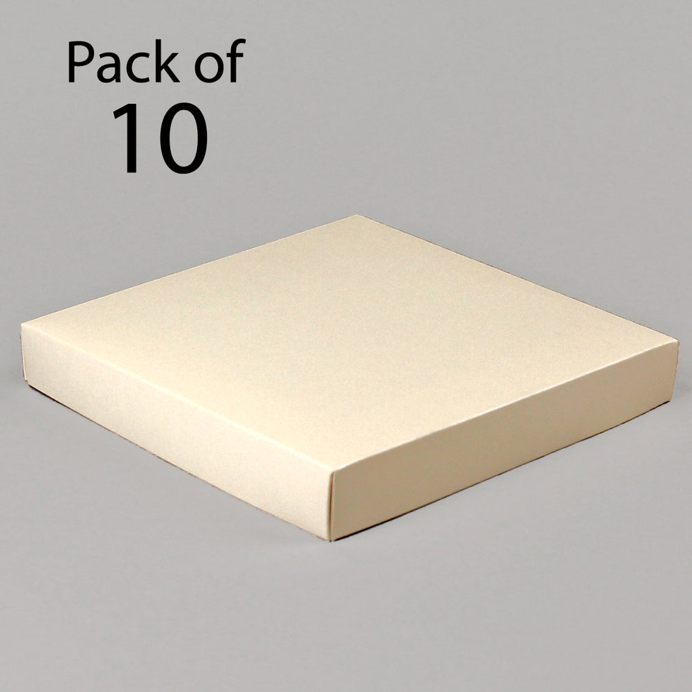 Card Boxes 151 x 151 x 22mm Ivory Satin Box Pack of 10