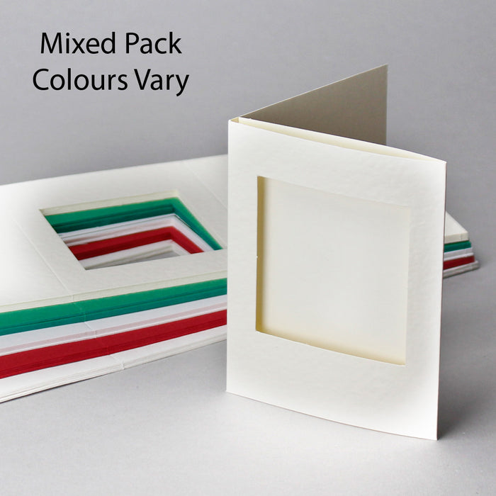 Square Aperture Cards Mixed Colours  88x114mm Pack of 50