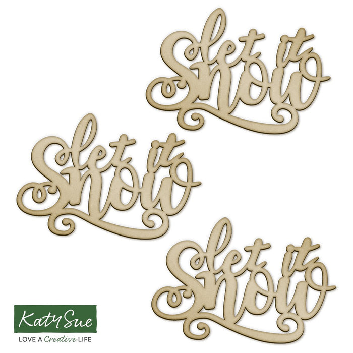 MDF Embellishment Words - Let It Snow (Set of 3)