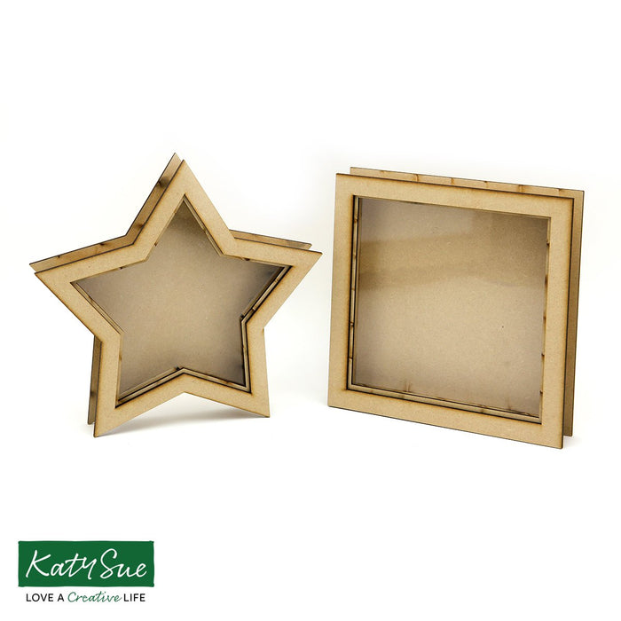 MDF Star and Square Shadow Box Frames