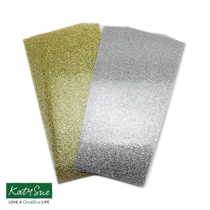 Pack of 20 Vinyl Strips - Glitter Gold & Glitter Silver