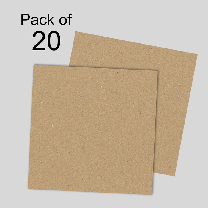 Brown Kraft Card 280gsm 12x12 Pack of 20