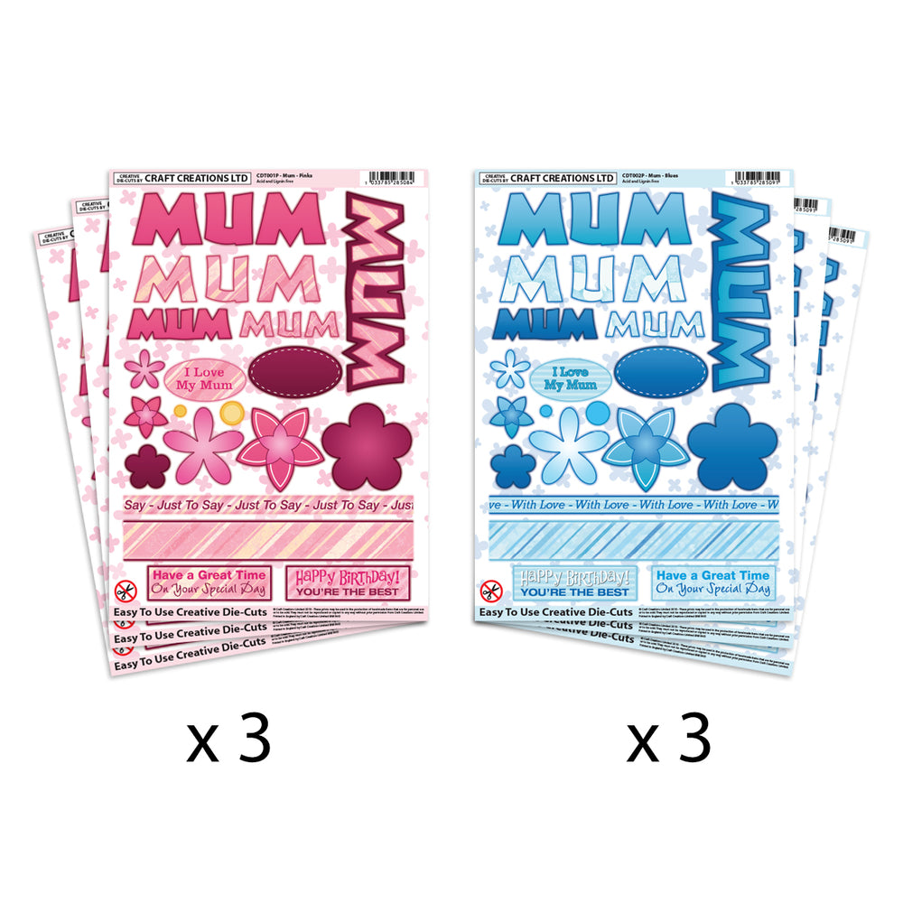 Die Cut Toppers Mum Pinks & Mum Blues (Pack of 6)