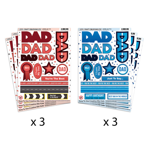 Die Cut Toppers Dad Reds & Dad Blues (Pack of 6)