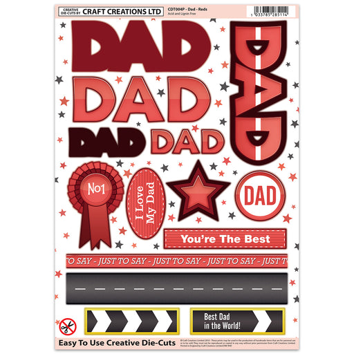 Die Cut Toppers - Dad Reds (Pack of 6)
