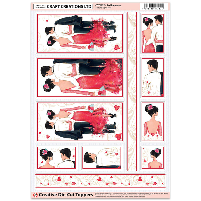 Die Cut Toppers - Red Romance (Pack of 6)