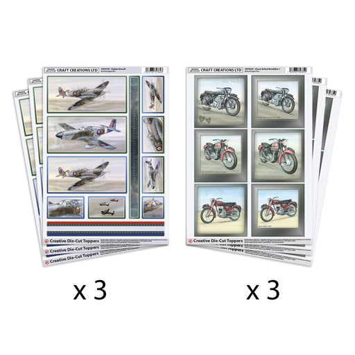 Die Cut Toppers Fighter Aircraft & Classic Motorbikes (Pack of 6)