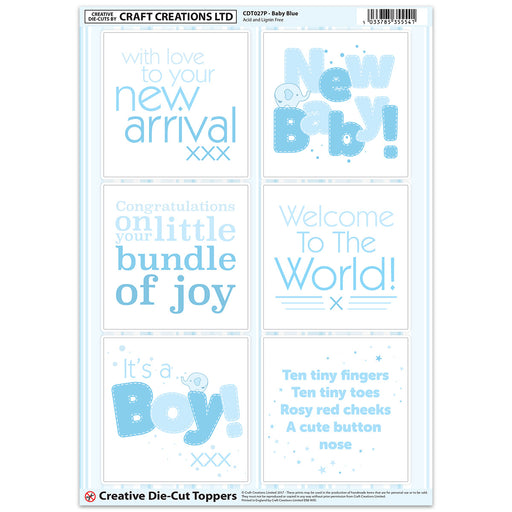 Die Cut Toppers - Baby Blue (Pack of 6)