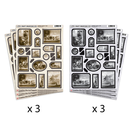 Die Cut Toppers The Race Black & White and Sepia (Pack of 6)