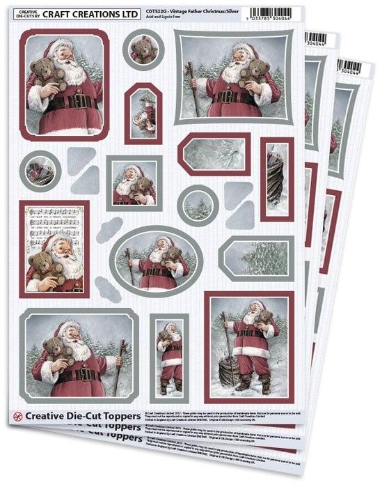 Die Cut Toppers - Vintage Father Christmas (Pack of 3)