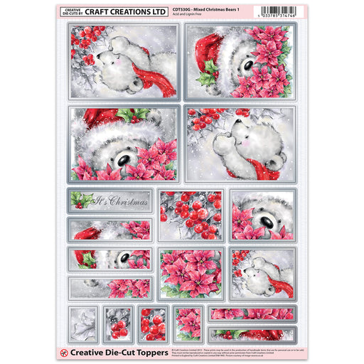 Die Cut Toppers - Mixed Christmas Bears 1 (Pack of 6)