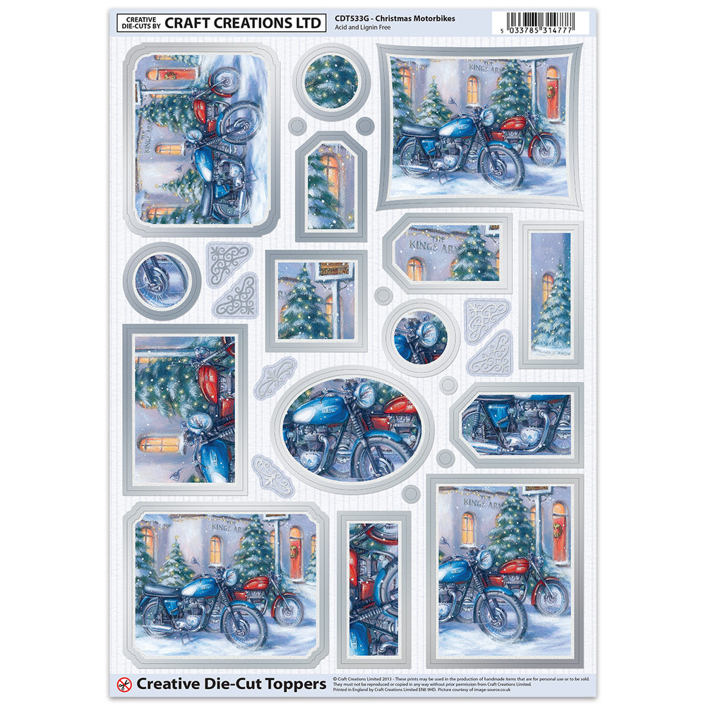 Die Cut Toppers - Christmas Motorbikes (Pack of 6)