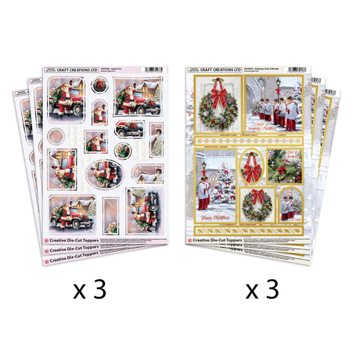 Die Cut Toppers Santa's Car & Choir & Wreath (Pack of 6)