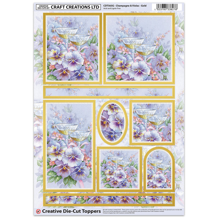 Die Cut Toppers - Champagne & Violas - Gold (Pack of 6)