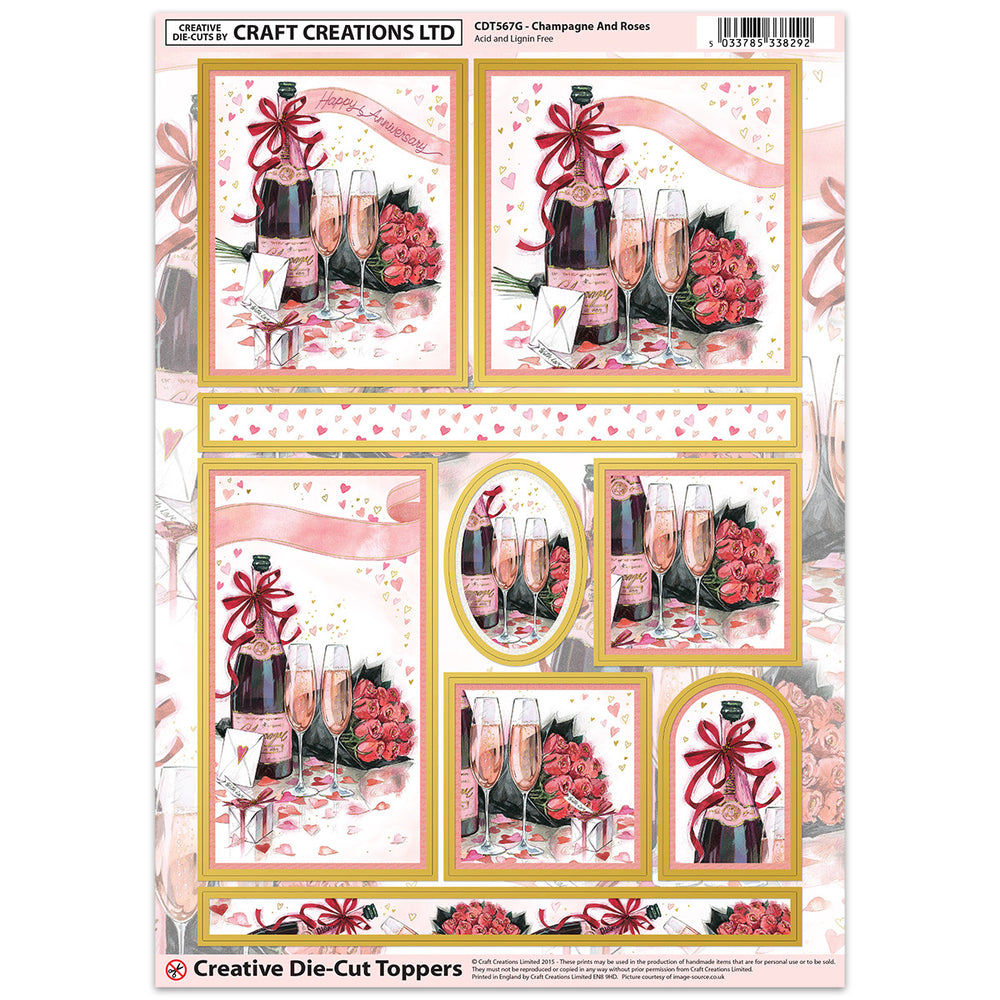 Die Cut Toppers - Champagne & Roses (Pack of 6)