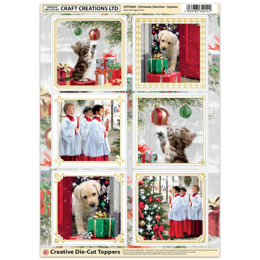 Die Cut Toppers - Christmas Selection - Squares (Pack of 6)