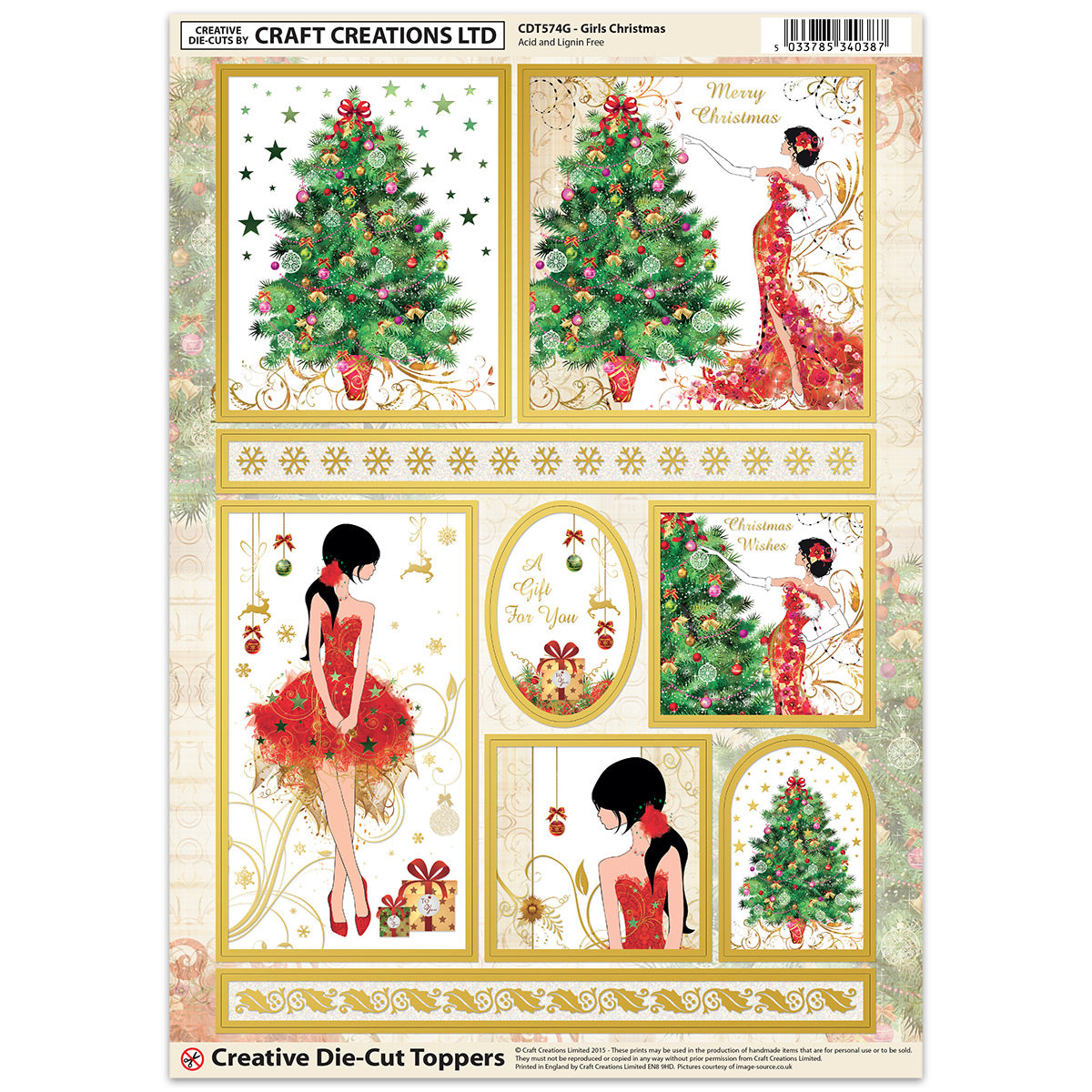 CRAFT CREATION GIRLS CHRISTMAS TOPPERS FOR CARDS /& CRAFT