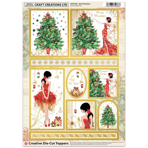 Die Cut Toppers - Girls Christmas (Pack of 6)