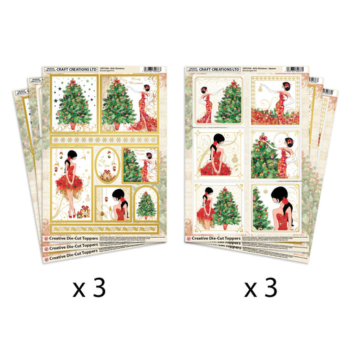 Die Cut Toppers Girls Xmas Square & Mixed Shapes (Pack of 6)