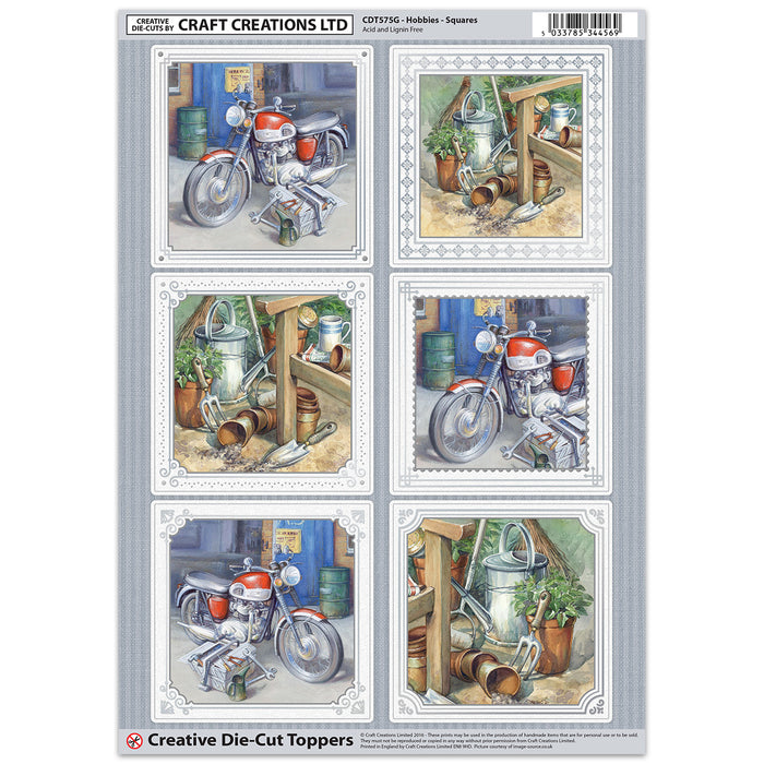 Die Cut Toppers - Hobbies - Squares (Pack of 6)