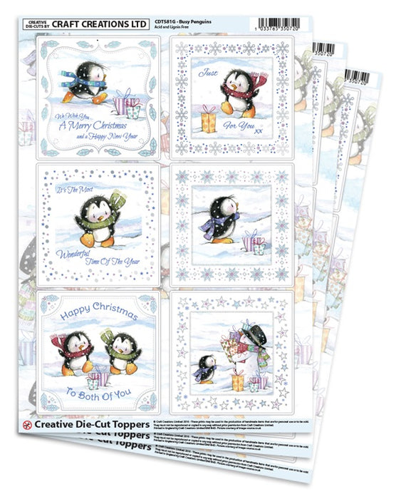 Die Cut Toppers - Busy Penguins (Pack of 3)