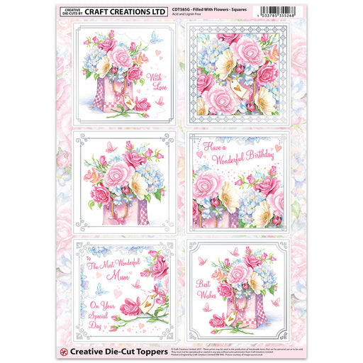 Die Cut Toppers - Filled With Flowers (Pack of 6)