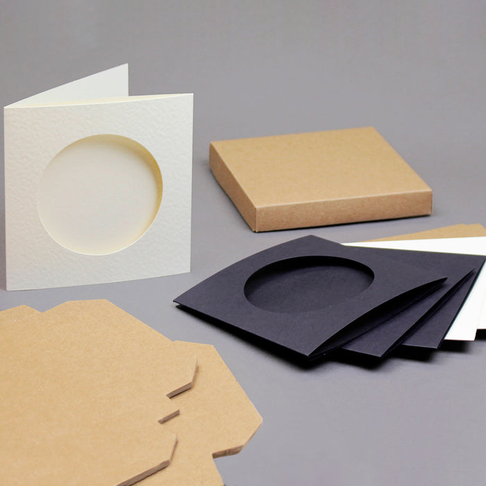 6 x 6 Circle Aperture Cards with Kraft Boxes; Black, Kraft and Cream Hammer (Pack of 9)